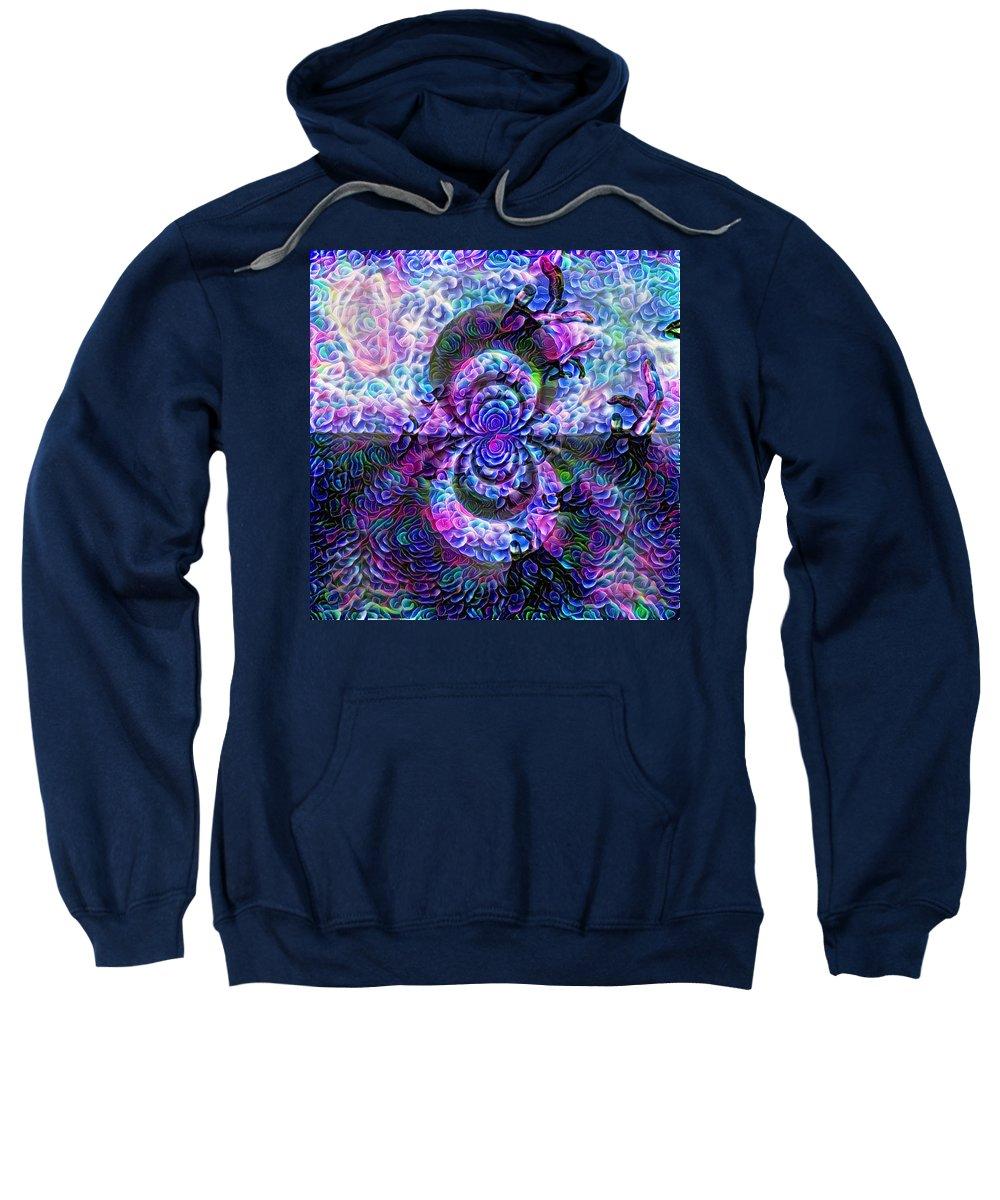 Digital Sweatshirt featuring the digital art Purple Abstraction by Bruce Rolff