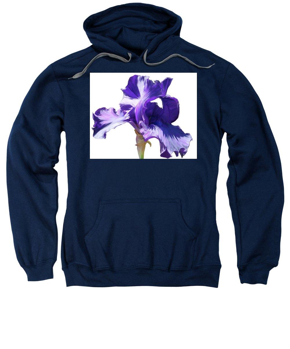 Flower Sweatshirt featuring the photograph Purple Iris by Angel Bentley