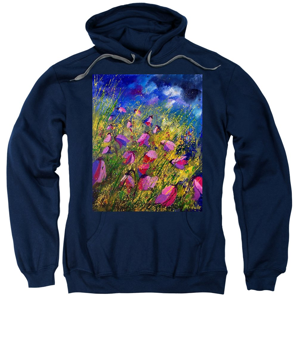 Poppies Sweatshirt featuring the painting Purple Wild Flowers by Pol Ledent