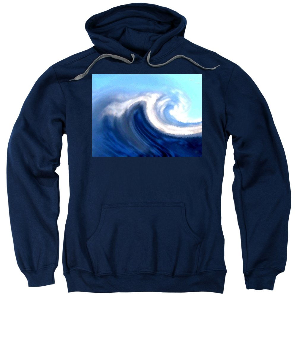 Abstract Sweatshirt featuring the digital art Raging Sea by Will Borden