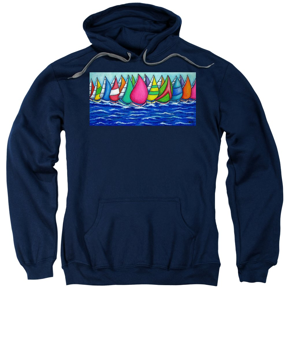 Boats Sweatshirt featuring the painting Rainbow Regatta by Lisa Lorenz