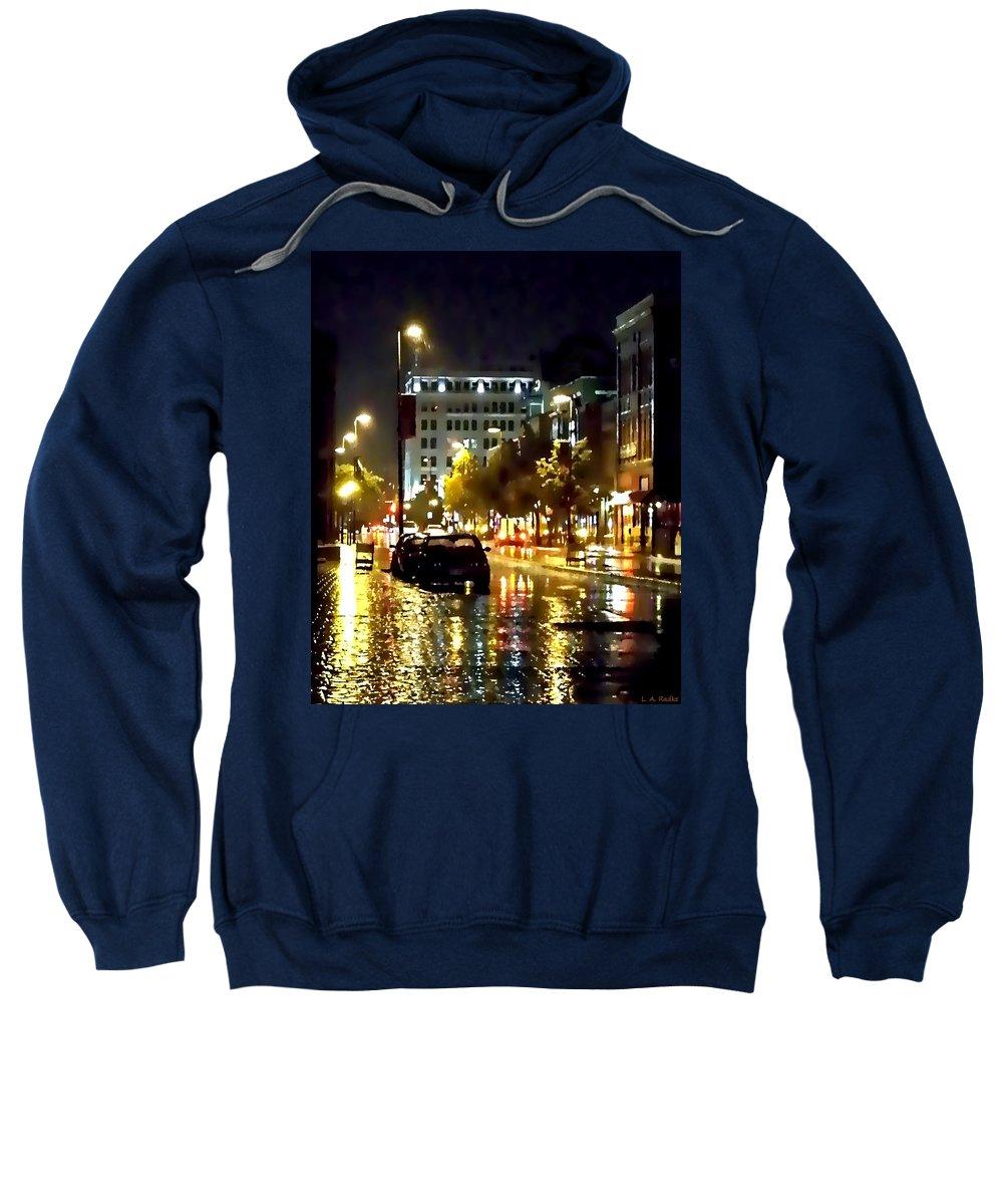Lauren Radke Sweatshirt featuring the photograph Rainy Night In Green Bay by Lauren Radke