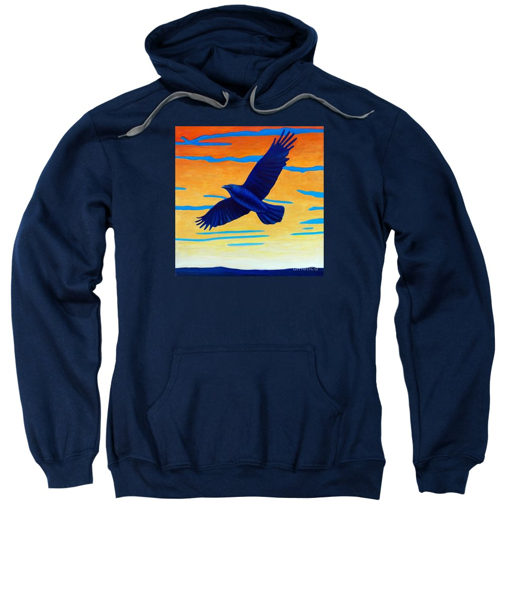 Raven Sweatshirt featuring the painting Raven Rising by Brian Commerford