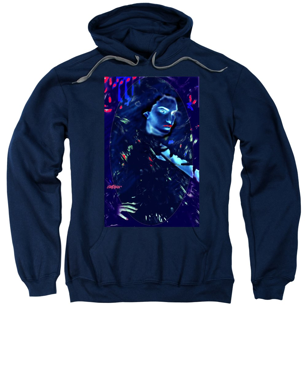 A Bizarre Evil Witch Flies With The Ravens Sweatshirt featuring the digital art Raven Woman by Seth Weaver
