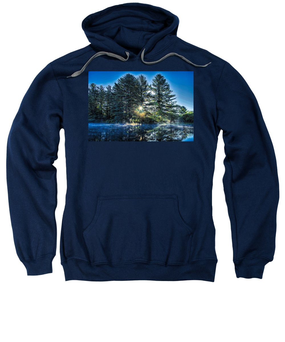 Androscoggin River Sweatshirt featuring the digital art Rays Of Light On The Androscoggin River by Jan Mulherin