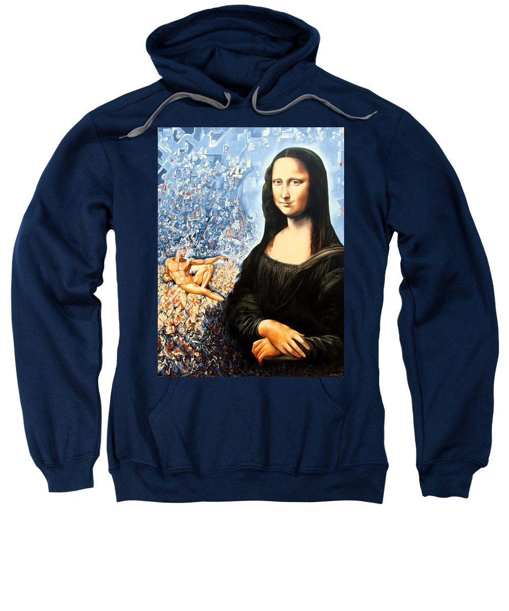 Surrealism Sweatshirt featuring the painting Reconstruction Of High Renaissance by Darwin Leon