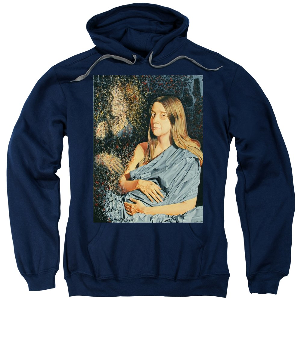 Surrealism Sweatshirt featuring the painting Reconstruction Of The Classical Madonna by Darwin Leon