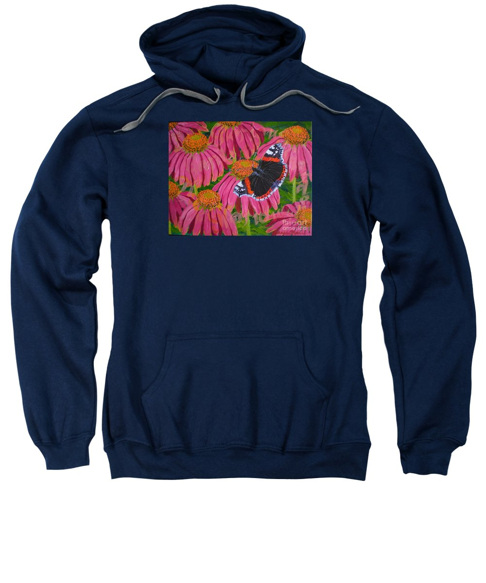 Red Admiral Butterfly Sweatshirt featuring the painting Red Admiral Butterfly by Teresa Marie Staal Cowley