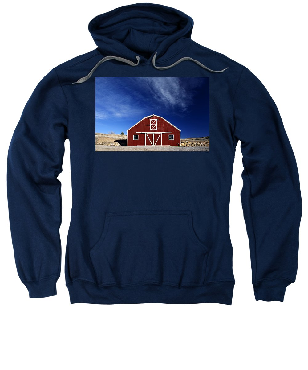 Americana Sweatshirt featuring the photograph Red And White Barn by Marilyn Hunt