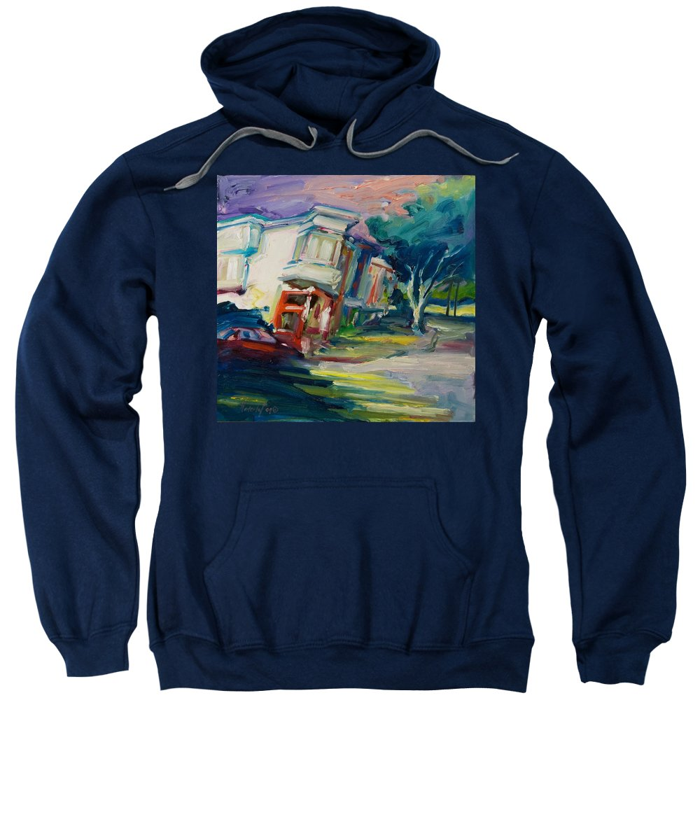 Trees Sweatshirt featuring the painting Red Cafe by Rick Nederlof