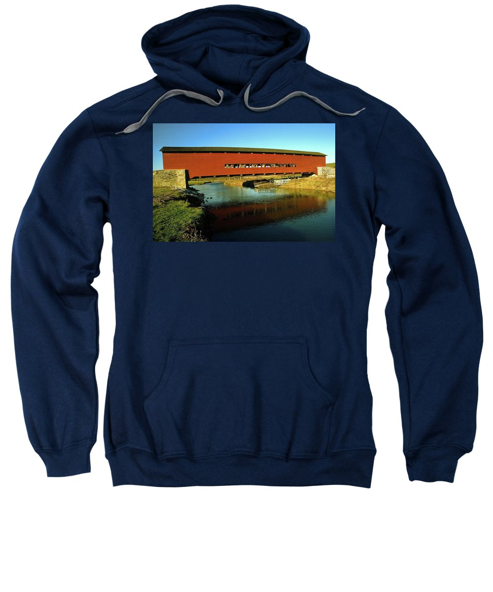 Red Covered Bridge Sweatshirt featuring the photograph Red Covered Bridge by Sally Weigand