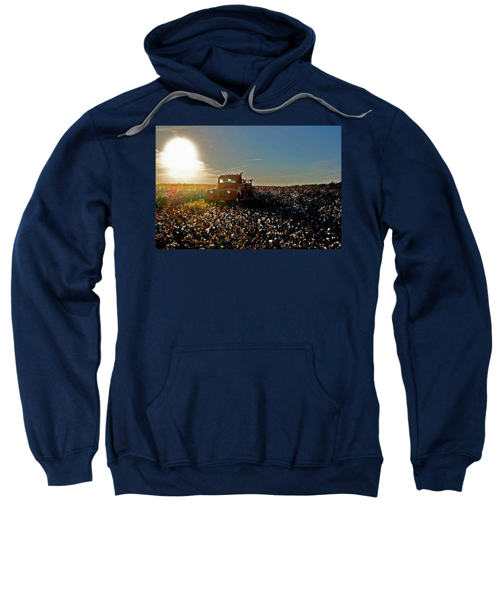Car Sweatshirt featuring the painting Red Fire Truck And The Sun by Michael Thomas
