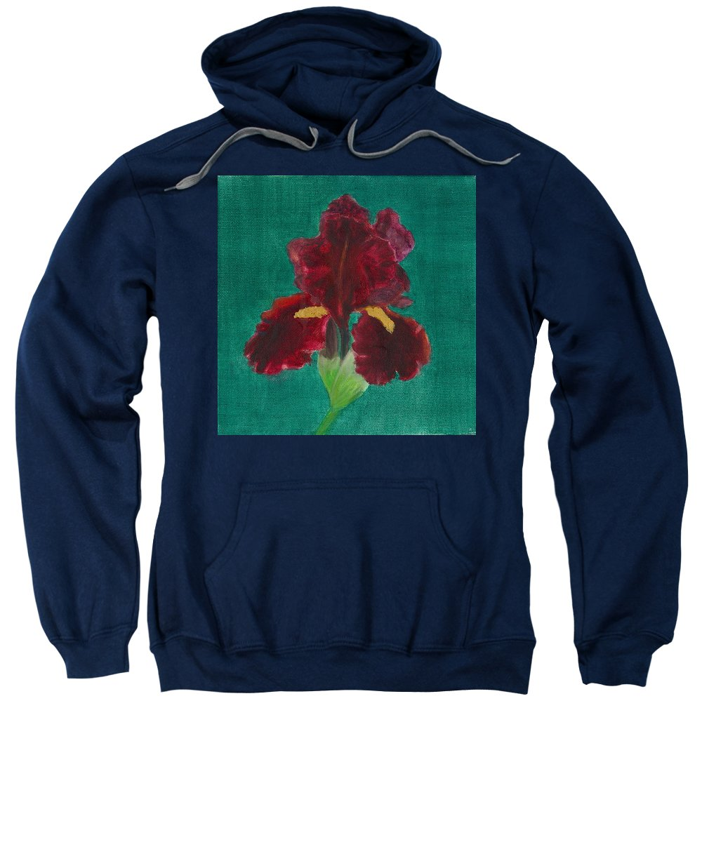 Flower Sweatshirt featuring the painting Red Iris by Paula Emery