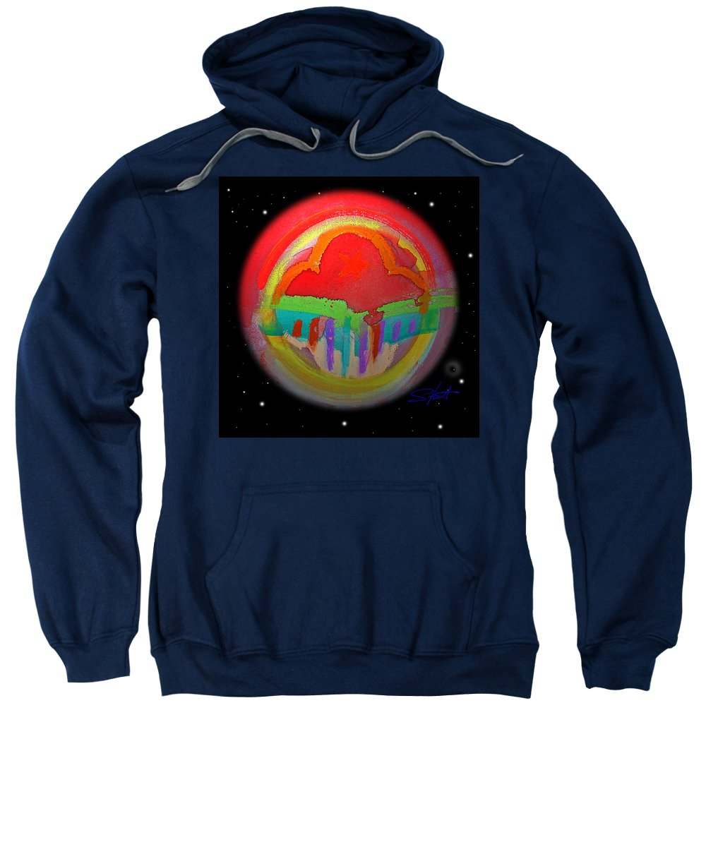 Landscape Sweatshirt featuring the painting Red Planet by Charles Stuart