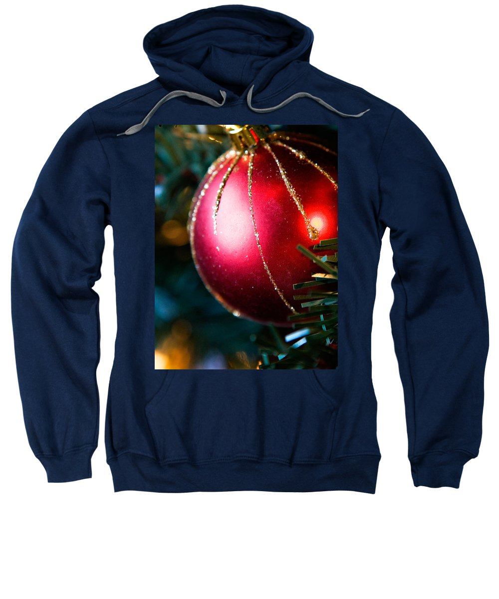 Red Sweatshirt featuring the photograph Red Shiny Ornament by Marilyn Hunt