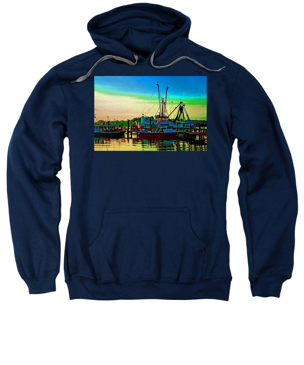 Shrimp Boat Sweatshirt featuring the painting Red Sunrise And The Shrimp Boat by Michael Thomas