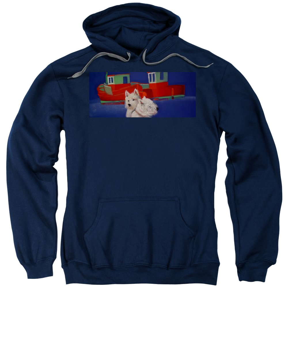 Seascapes Sweatshirt featuring the painting Red Trawlers by Charles Stuart