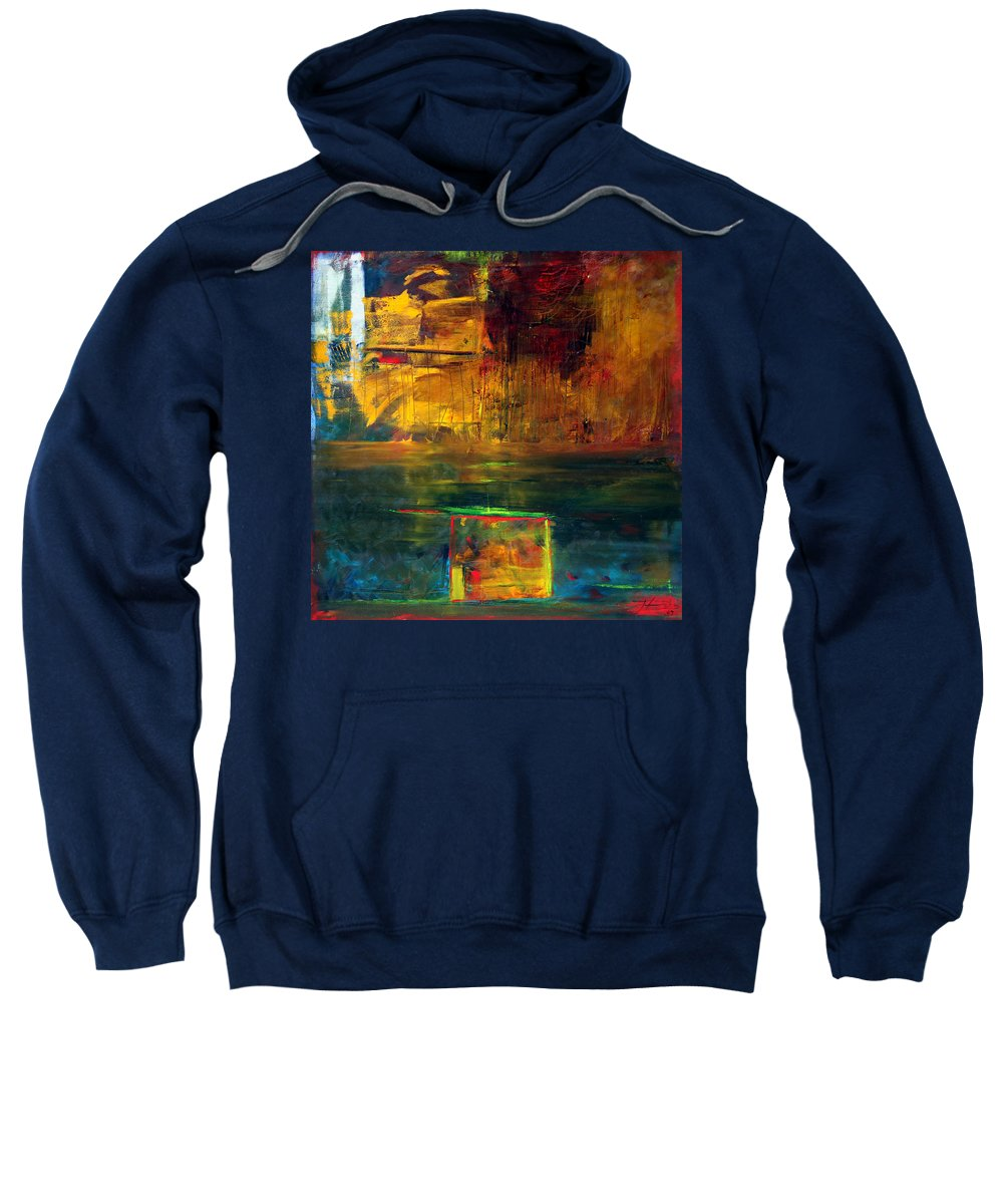 New York City Reflection Red Yellow Blue Green Sweatshirt featuring the painting Reflections Of New York by Jack Diamond