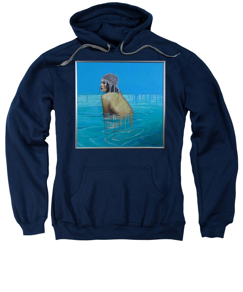 Beauty Sweatshirt featuring the painting Rela In The Sea by Polina Kamenska