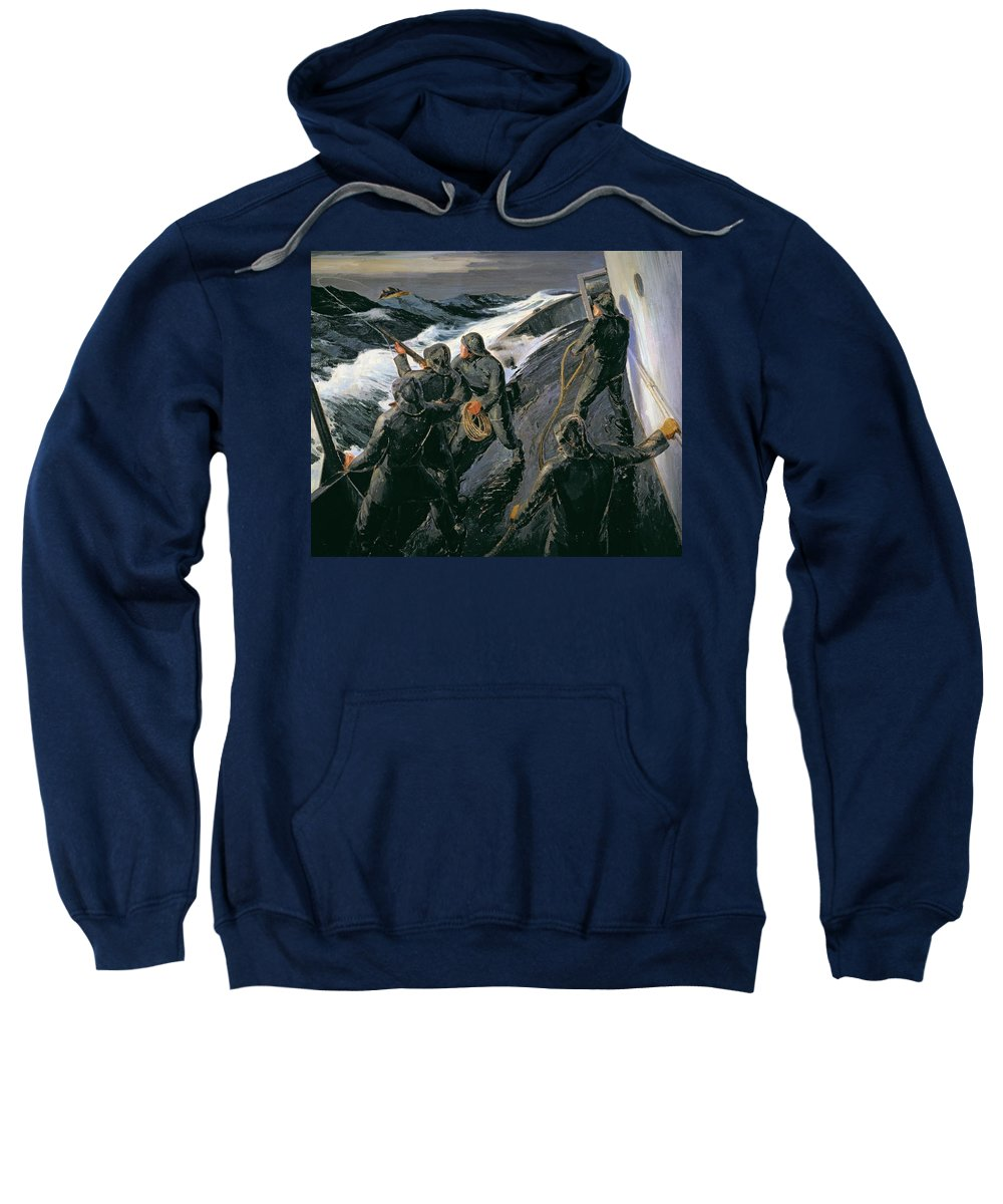 Rescue - Firing A Costen Gun Line (oil On Canvas) By Thomas Harold Beament (1898-1985) Sweatshirt featuring the painting Rescue by Thomas Harold Beament