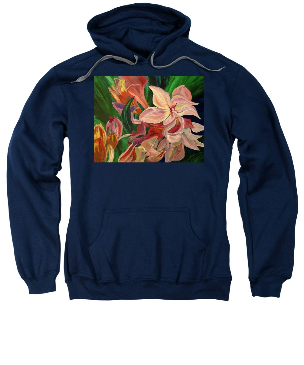 Rhododendron Sweatshirt featuring the painting Rhododendron by Donna Drake