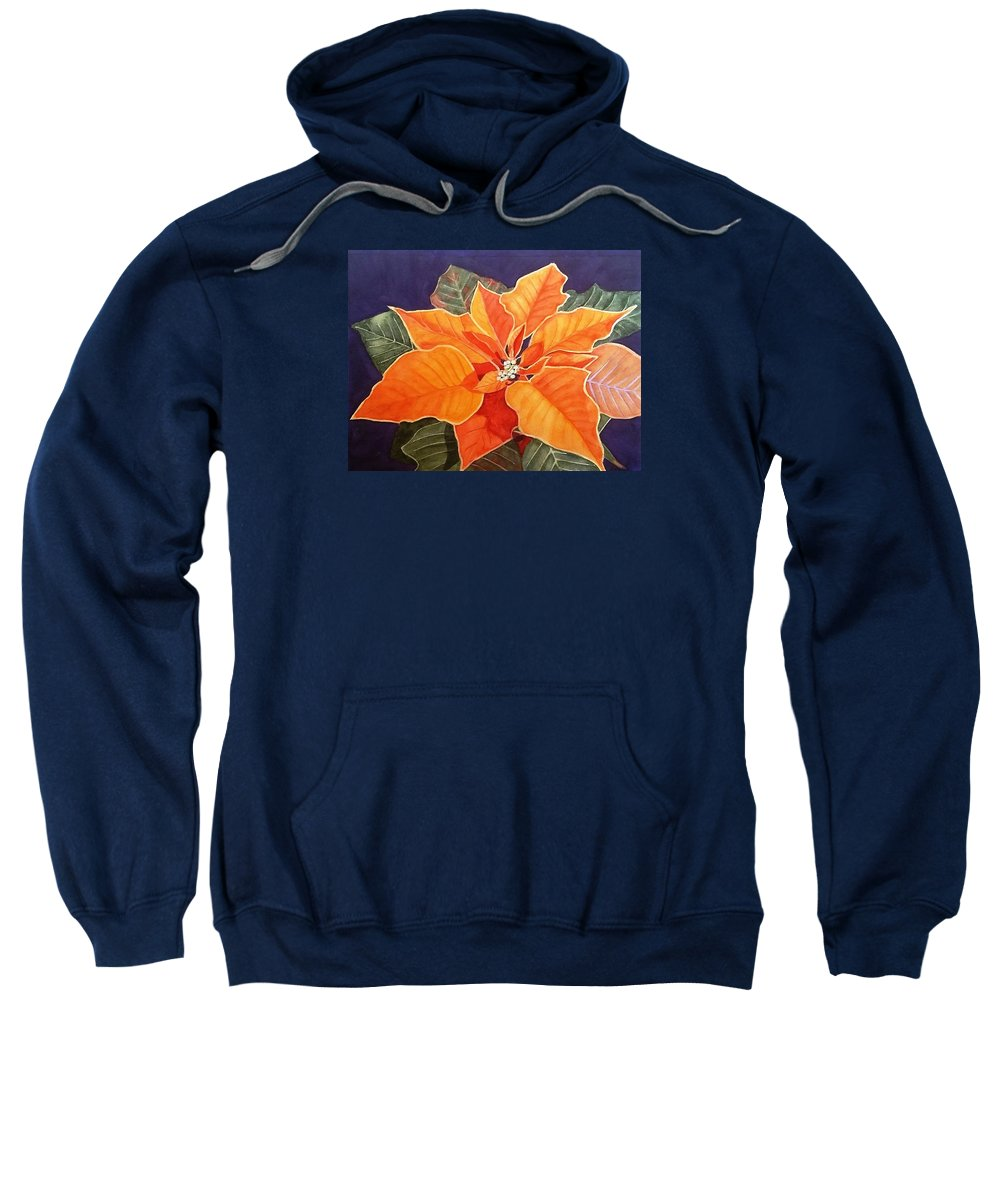 Poinsettia Sweatshirt featuring the painting Ribbon Candy Poinsettia by Deane Locke