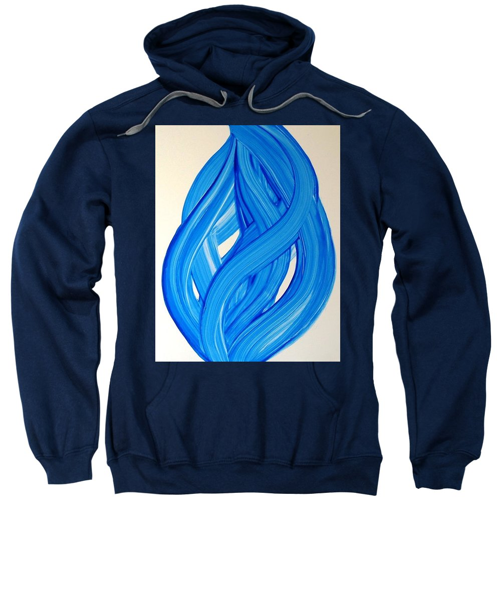 Abstract Modern Contemporary Yupo Art Painting Romantic Pop Blue Sweatshirt featuring the painting Ribbons Of Love-blue by Manjiri Kanvinde