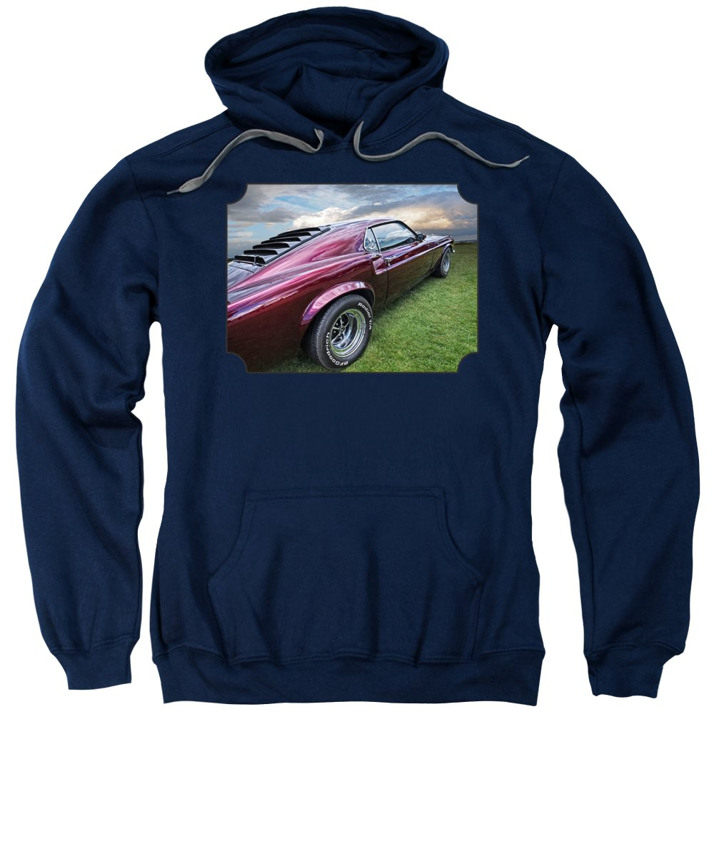 Classic Ford Mustang Sweatshirt featuring the photograph Rich Cherry - '69 Mustang by Gill Billington
