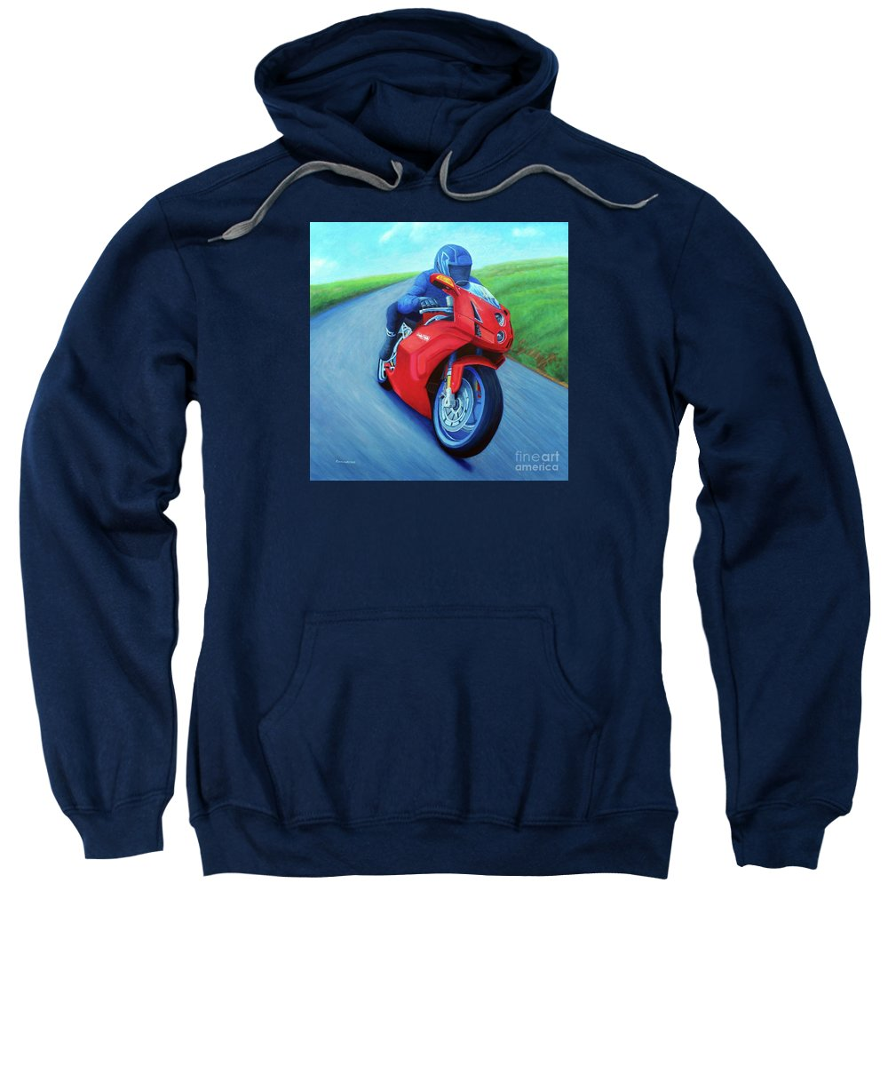 Motorcycle Sweatshirt featuring the painting Riding The Highlands - Ducati 999 by Brian Commerford