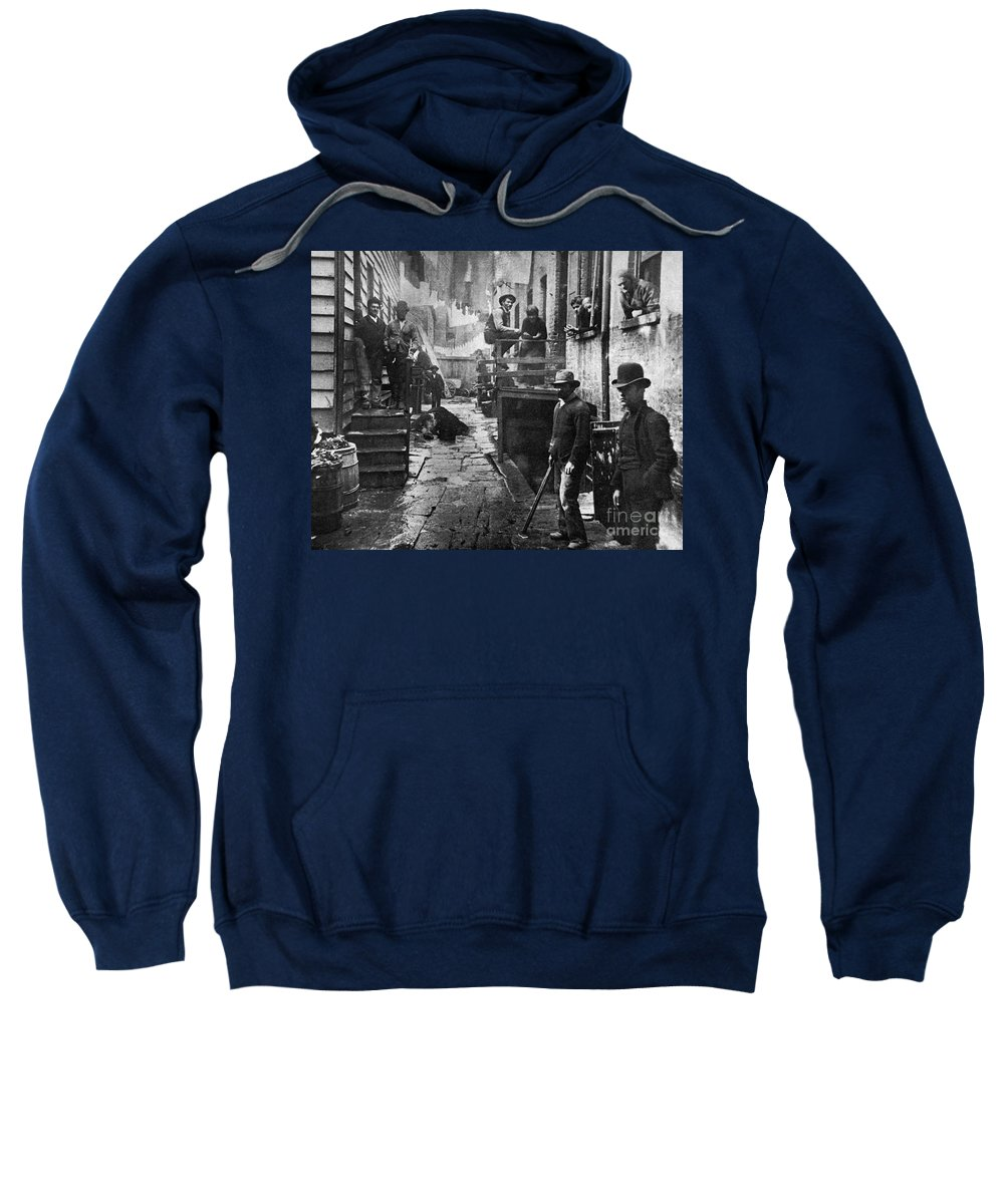 1887 Sweatshirt featuring the photograph Riis: Bandits Roost, 1887 by Granger