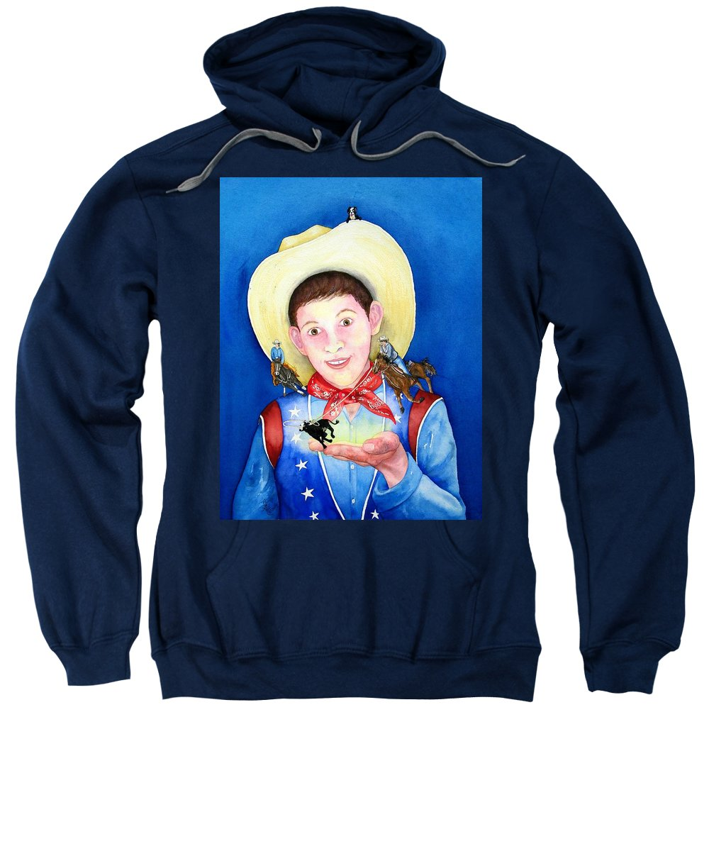 Boy Sweatshirt featuring the painting Rodeo Magic by Gale Cochran-Smith