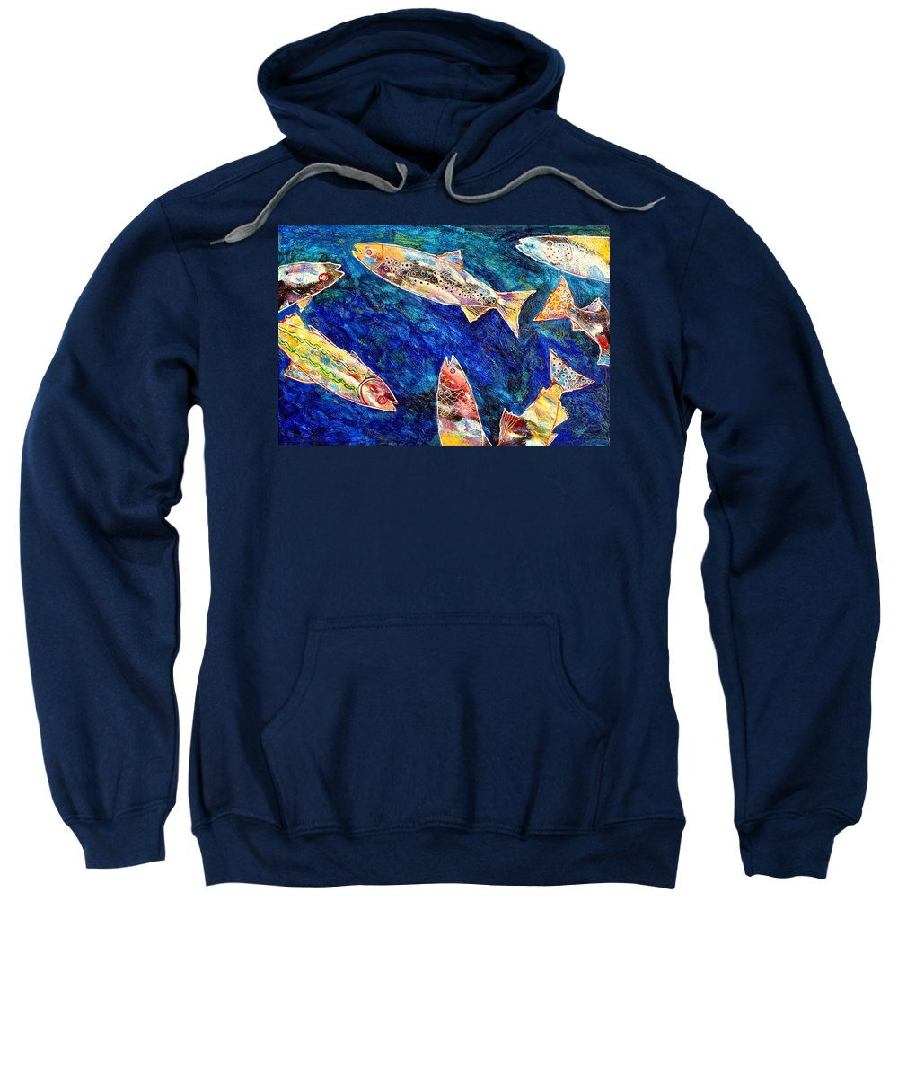 Fish Sweatshirt featuring the painting Rogue Wave by Dominic Piperata