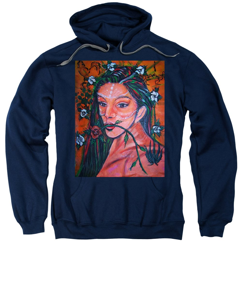 Latina Sweatshirt featuring the painting Rosales Latina by Americo Salazar