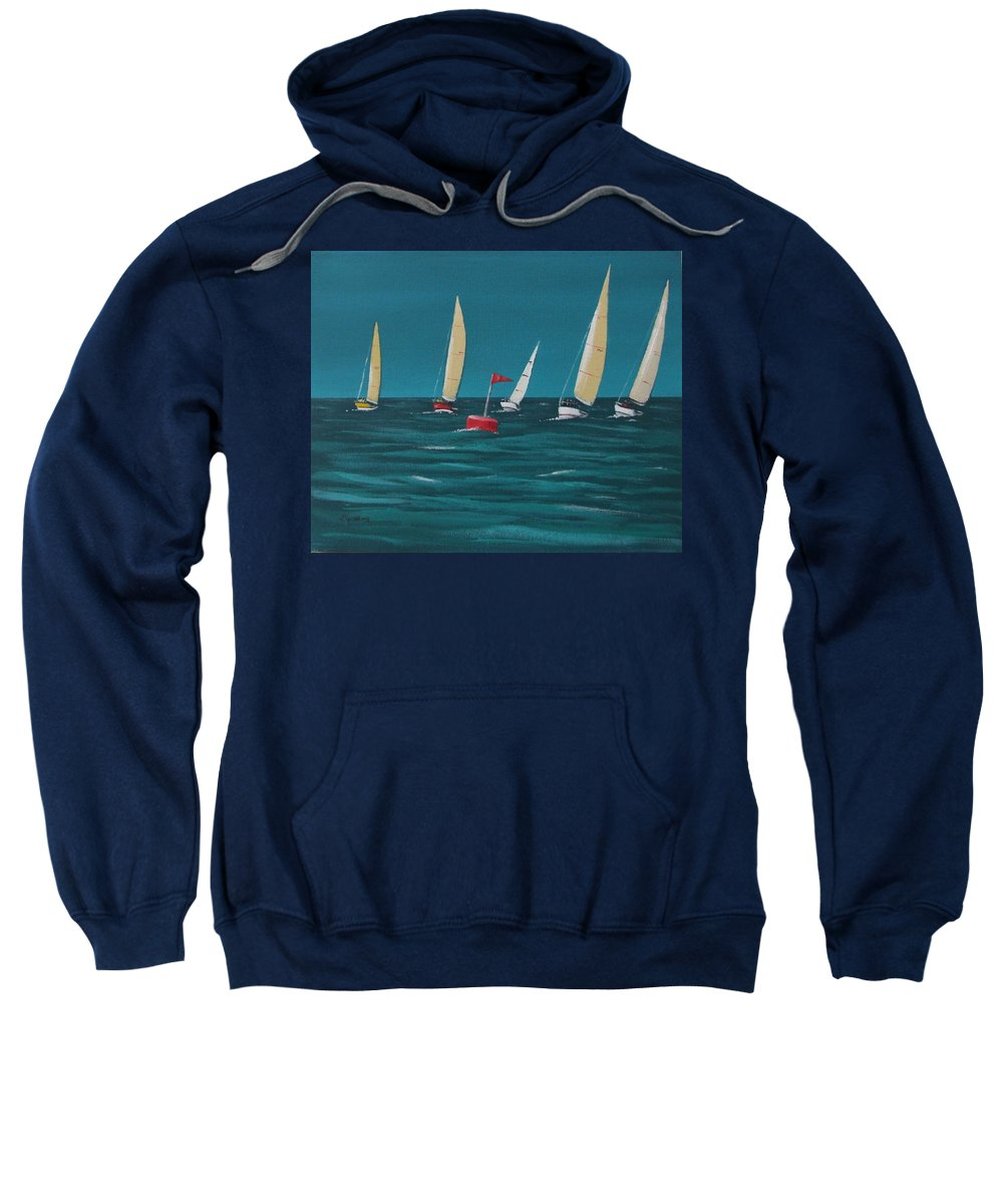 Sailing Sweatshirt featuring the painting Rounding The Marker by Tony Gunning