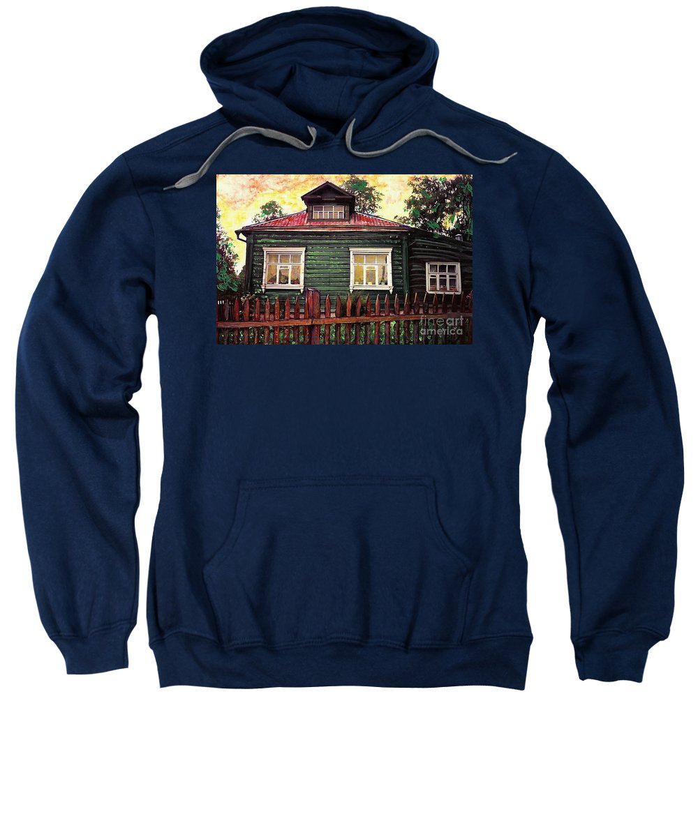 Russia Sweatshirt featuring the mixed media Russian House 2 by Sarah Loft