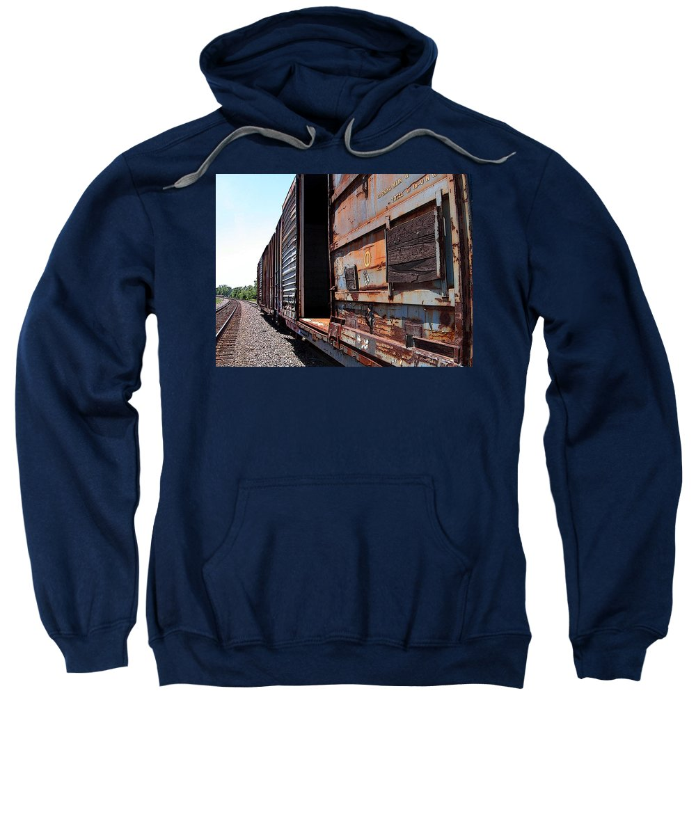 Train Sweatshirt featuring the photograph Rustic Train by Anne Cameron Cutri