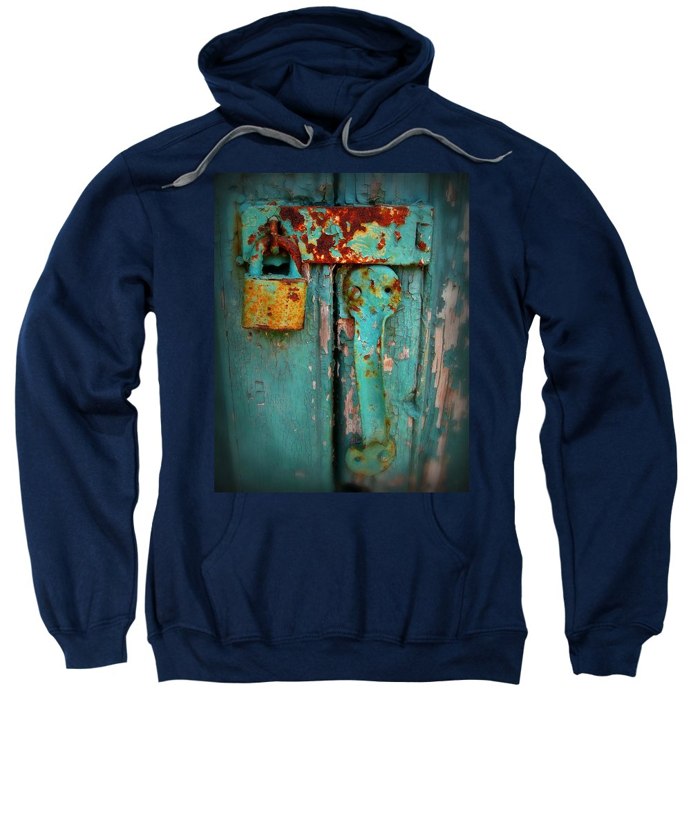 Rust Sweatshirt featuring the photograph Rusty Lock by Perry Webster