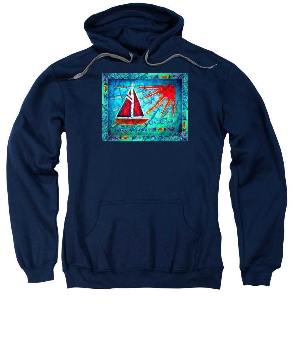 Sailboat Sweatshirt featuring the painting Sailboat In The Sun by Sue Duda