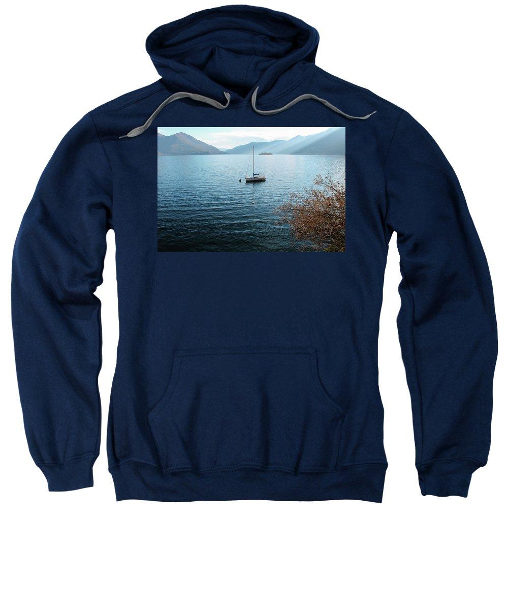 Switzerland Sweatshirt featuring the photograph Sailboat On Lake Maggiore by Kinsey Watson