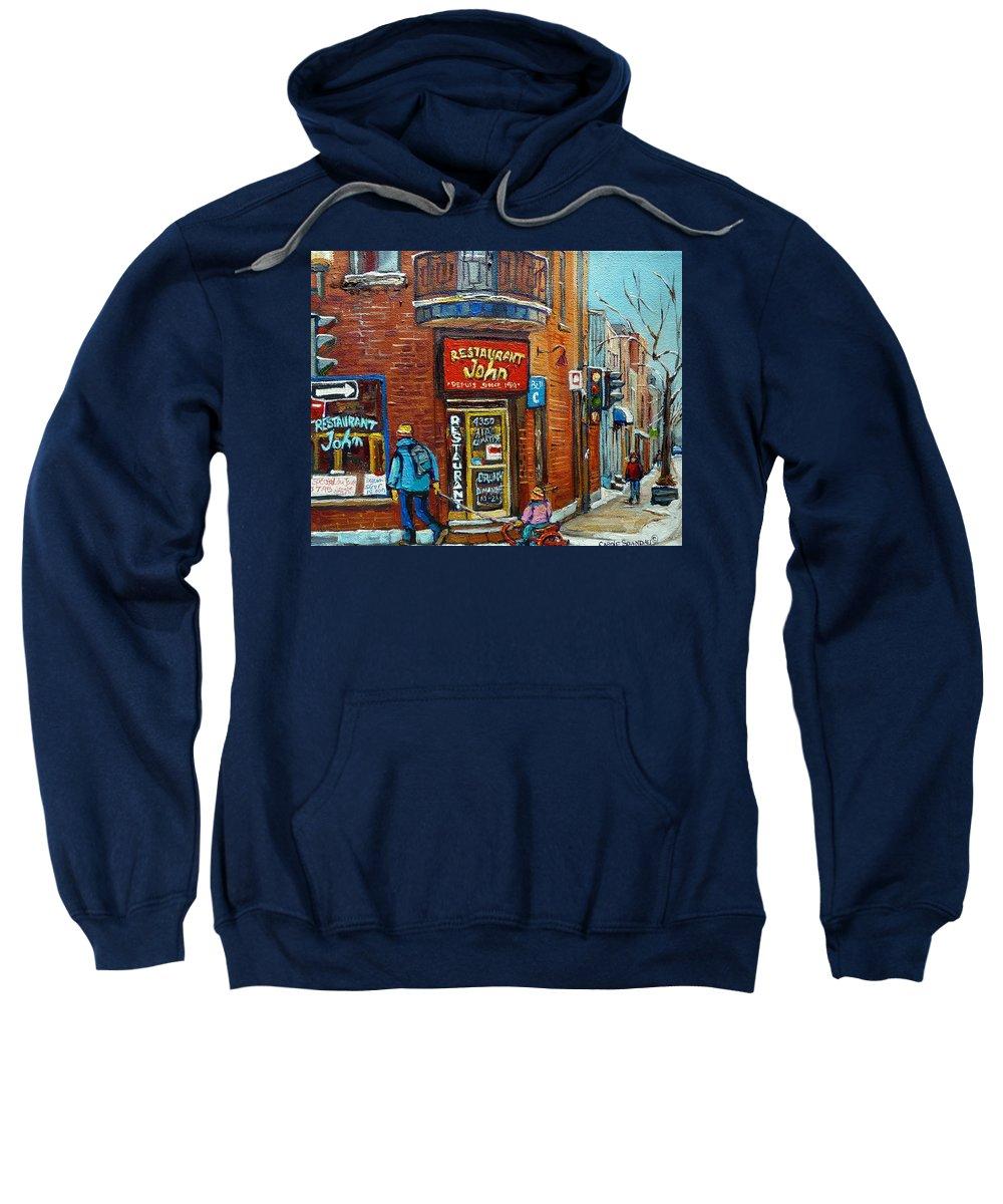 Restaurant John Montreal Sweatshirt featuring the painting Saint Henri Street In Winter by Carole Spandau