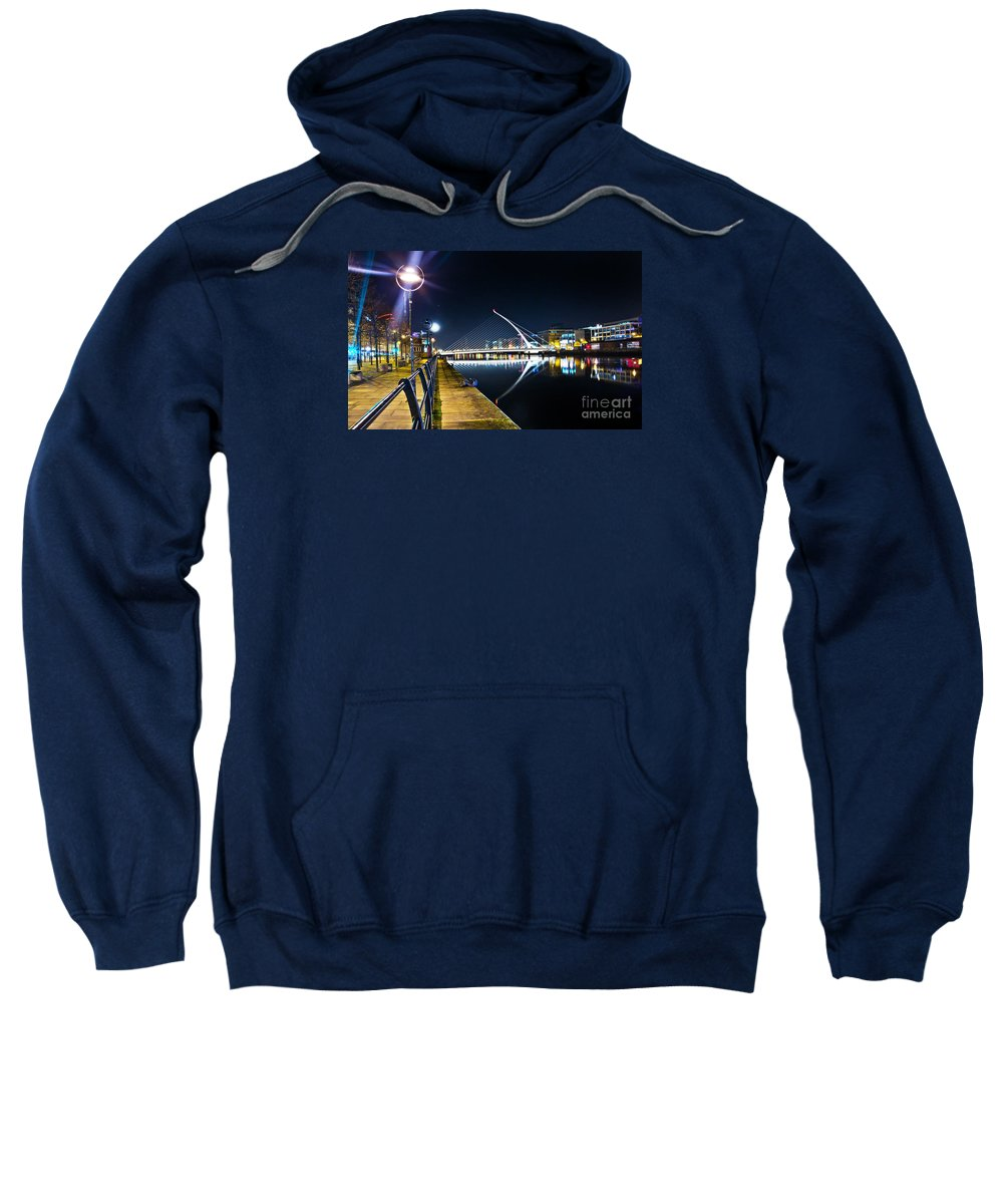 Samuel Beckett Bridge Sweatshirt featuring the photograph Samuel Beckett Bridge 2 by Alex Art and Photo