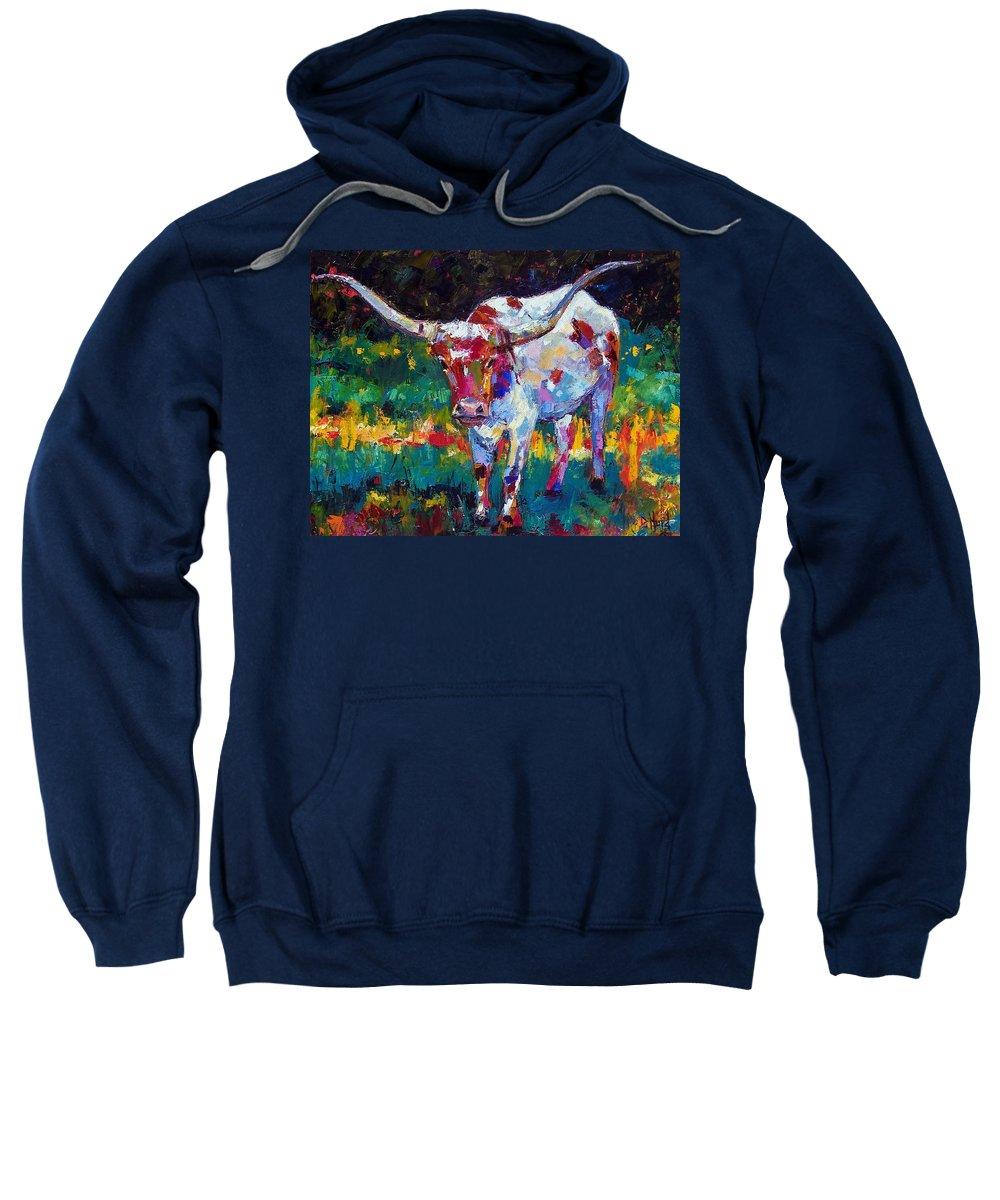 Longhorn Sweatshirt featuring the painting Sassy by Debra Hurd