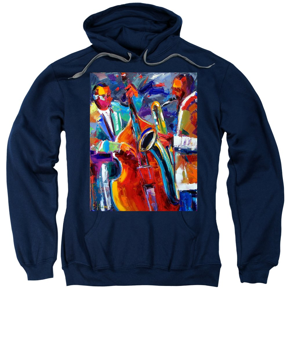 Jazz Painting Sweatshirt featuring the painting Sax And Bass by Debra Hurd