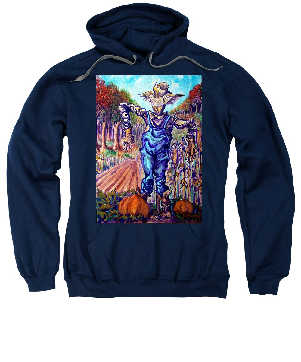 Scarecrow Sweatshirt featuring the painting Scarecrow by Kevin Middleton