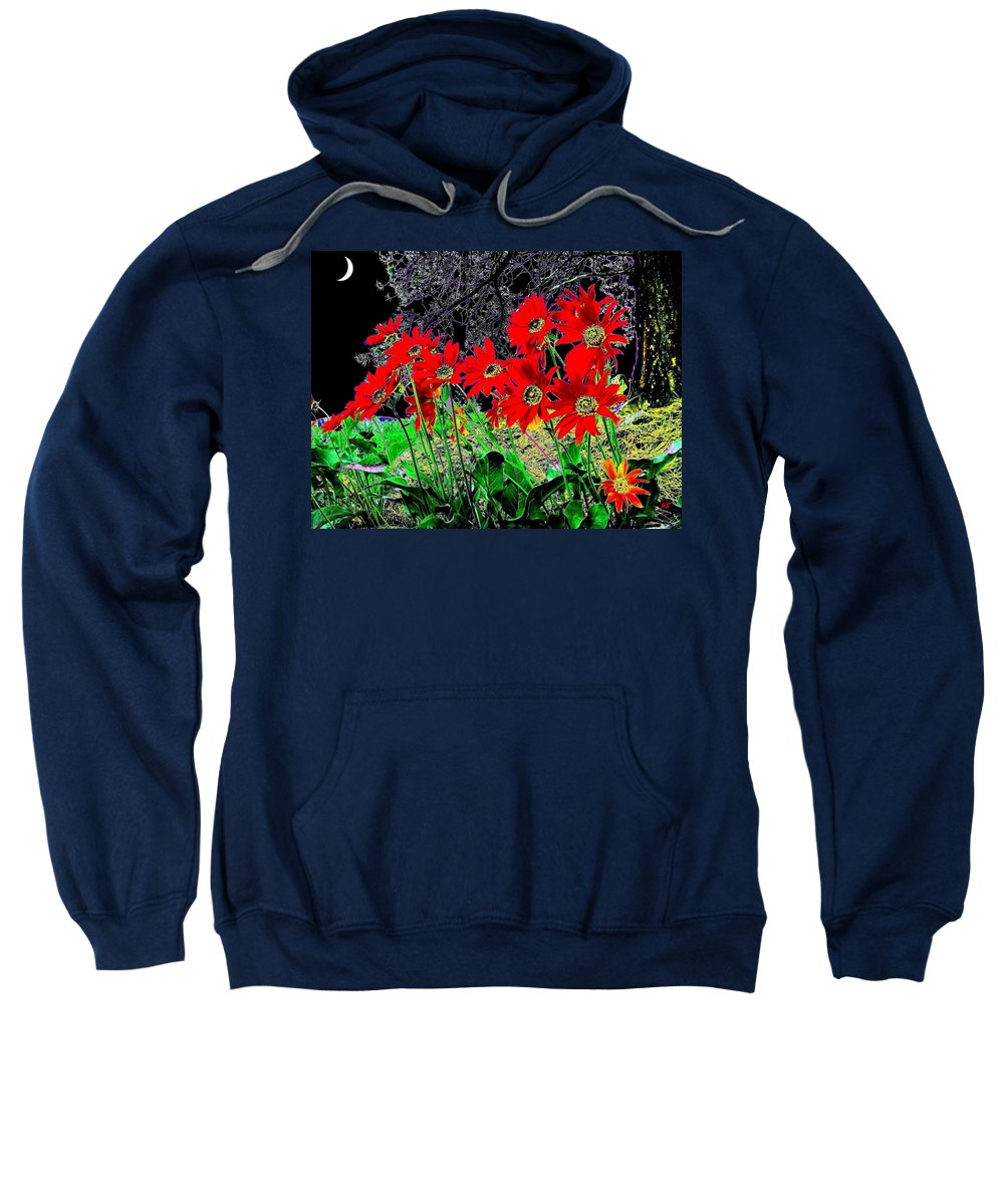 Abstract Sweatshirt featuring the digital art Scarlet Night by Will Borden