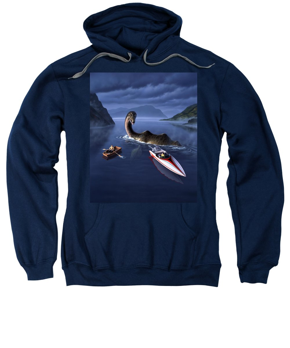 Loch Ness Monster Sweatshirt featuring the painting Scottish Cuisine by Jerry LoFaro