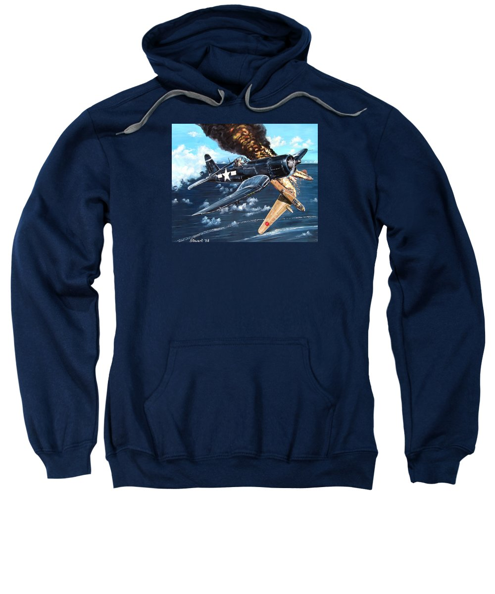 Military Sweatshirt featuring the painting Scratch One Betty by Marc Stewart