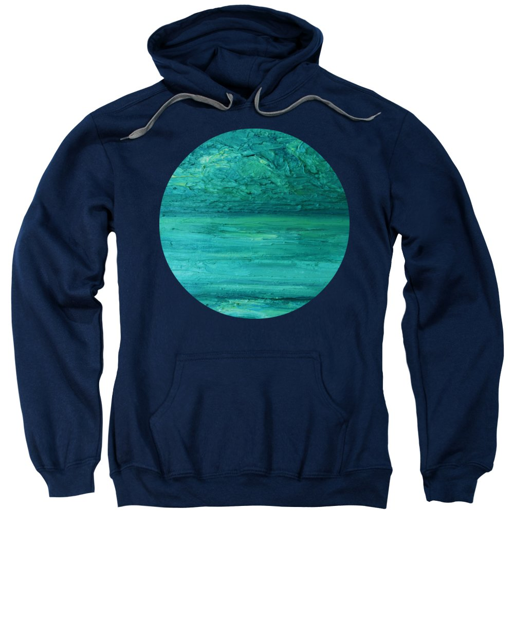 Sea And Sky Sweatshirt featuring the painting Sea Blue by Mary Wolf