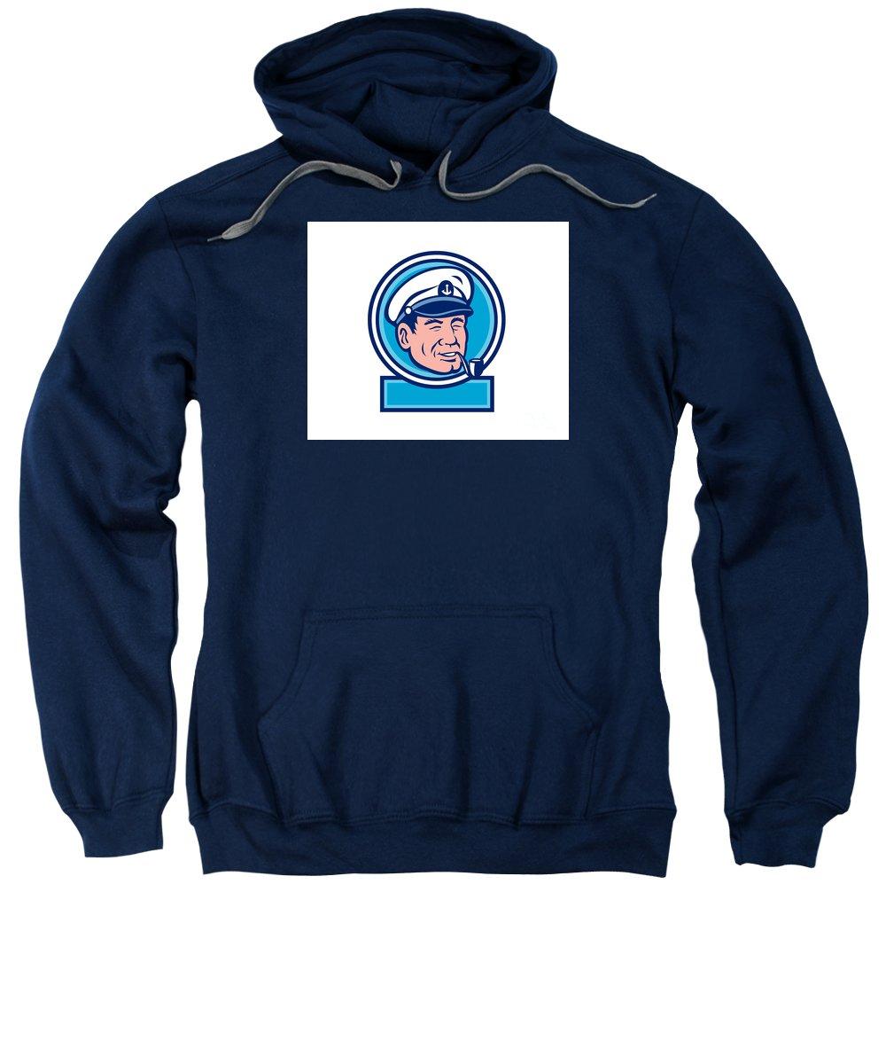Sea Captain Sweatshirt featuring the digital art Sea Captain Smoking Pipe Circle Retro by Aloysius Patrimonio