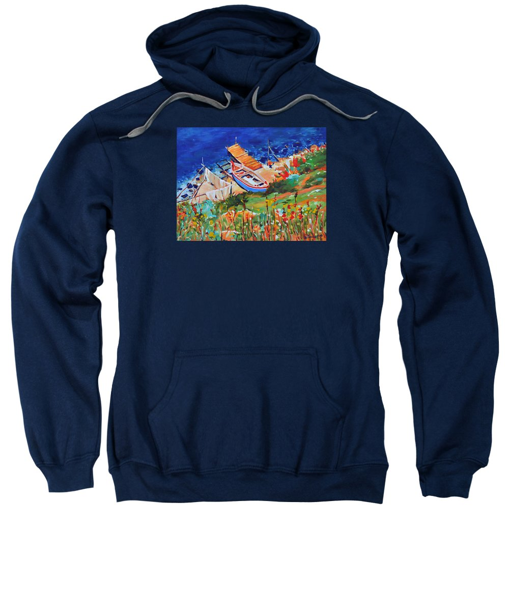 Seascape Sweatshirt featuring the painting Seacoast by Iliyan Bozhanov